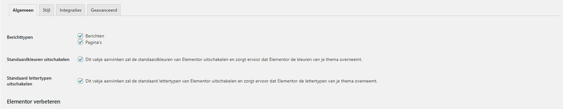 Algemene instellingen Elementor (benodigd om WordPress thema kiezen overbodig te maken)