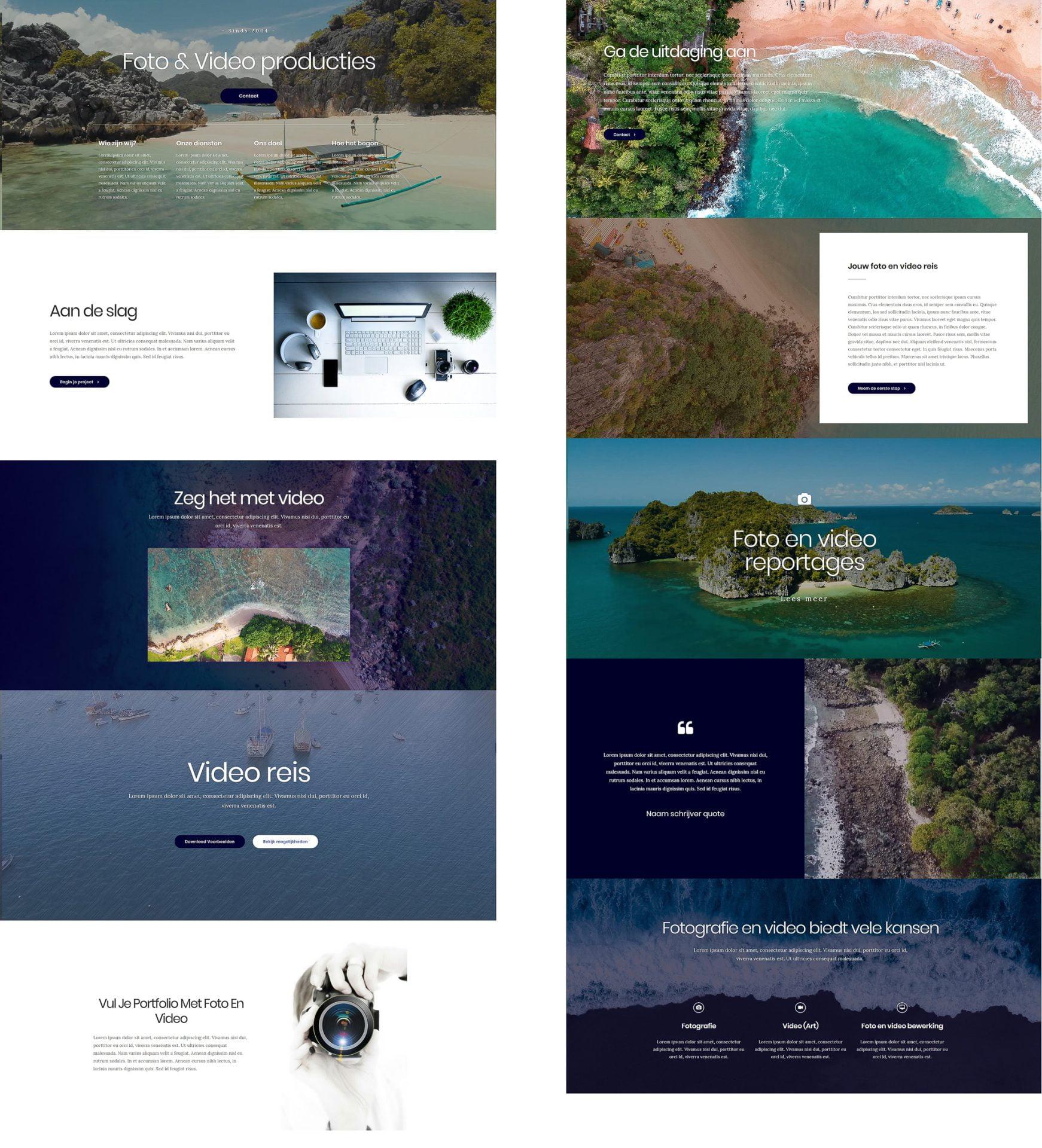 website voorbeeld foto en video ontwerp