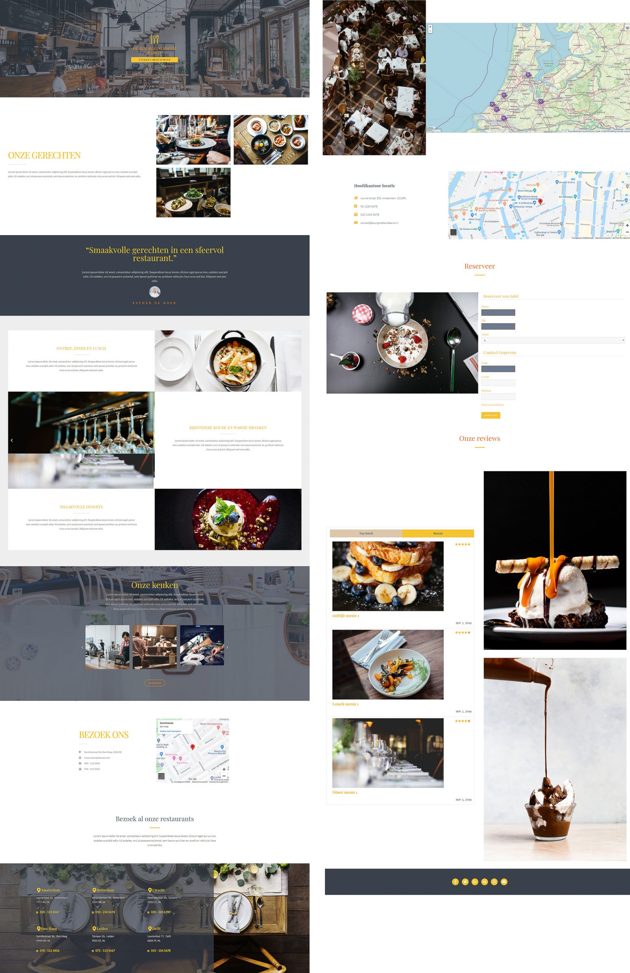 website voorbeeld restaurant ontwerp