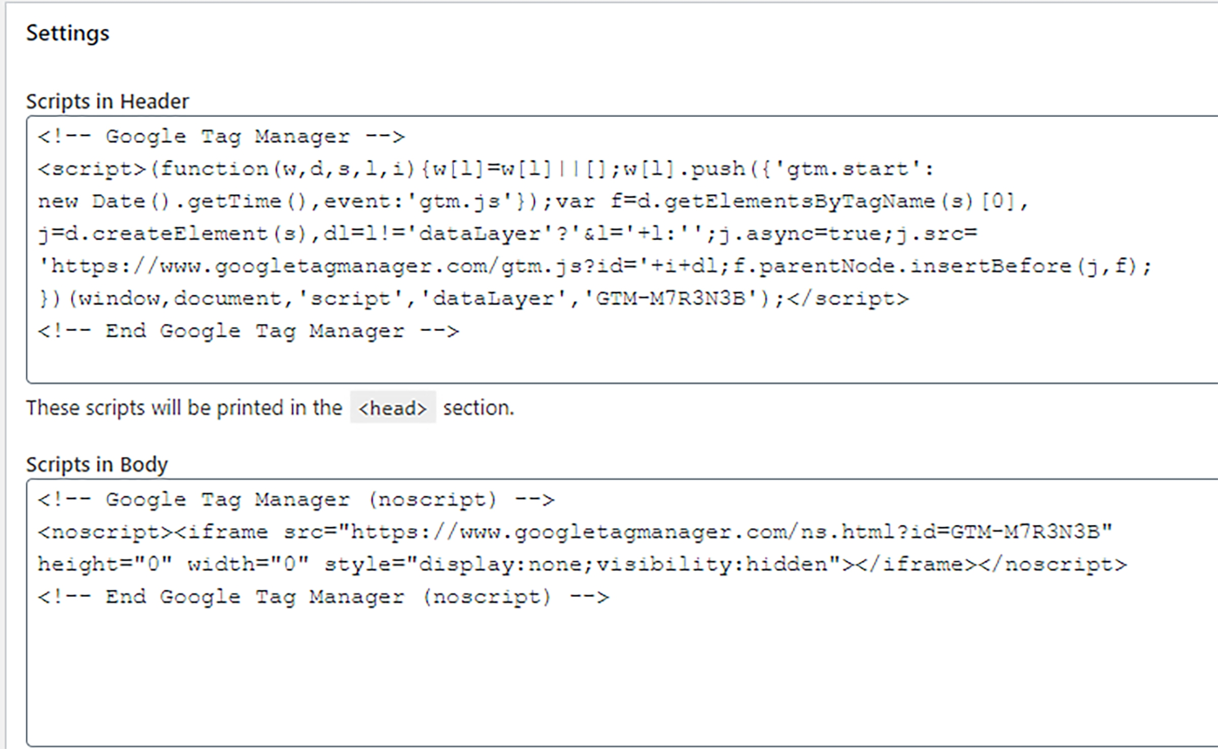 Instellingen koppeling Google tag manager in Insert Header and Footers plugin