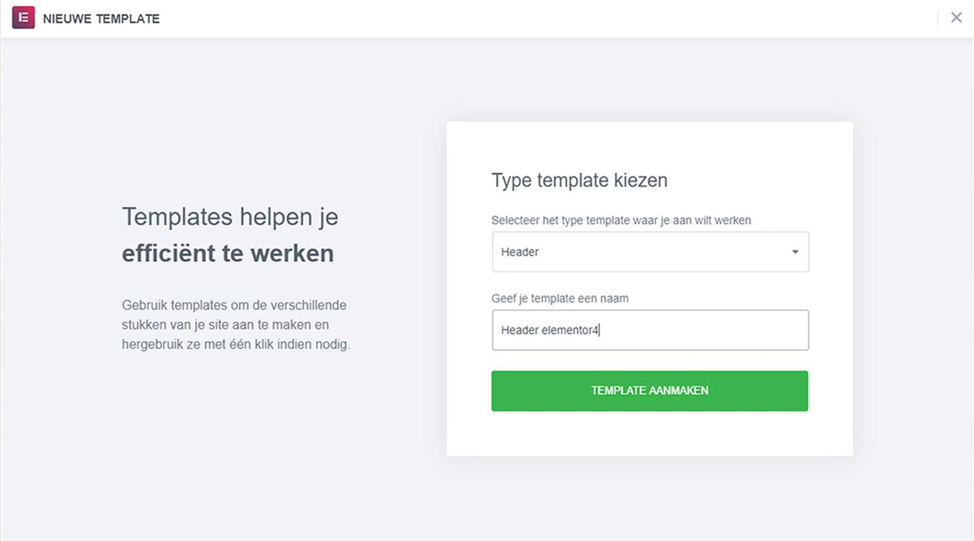 type template kiezen (benodigd om WordPress thema kiezen overbodig te maken)