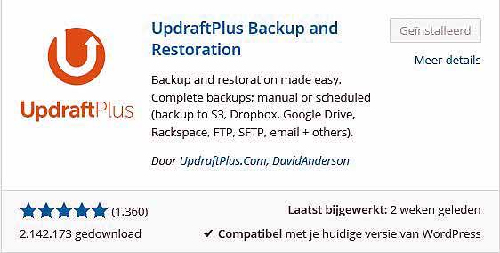Backup WordPress website maken: icoon Updraftplus plugin